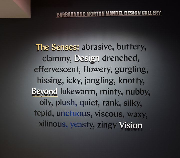 "A dark wall features even darker text describing adjectives to describe how we sense our world, the words ""The Senses, Design Beyond Vision"" are raised from the surface of the dark wall in yellow and white."