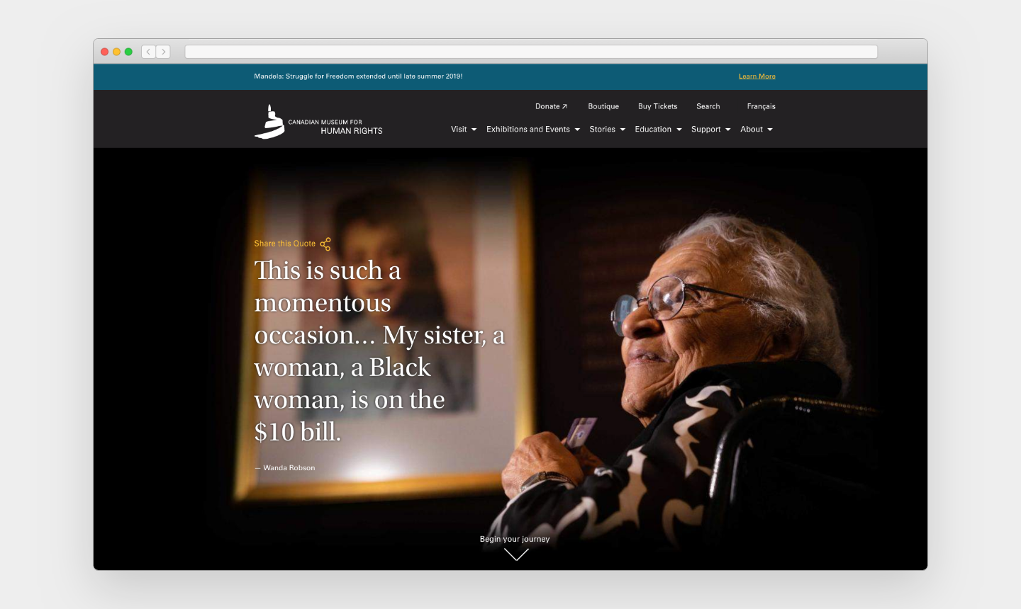 "Screenshot of a webpage with a teal blue bar on top announcing ""Mandela: Struggle for Freedom extended until late summer 2019."" Below that are two rows of navigational items. The majority of the image is a photo of an older woman looking off towards the left and large text that reads, ""This is such a momentous occasion . . . My sister, a woman, a Black woman, is on the $10 bill."""