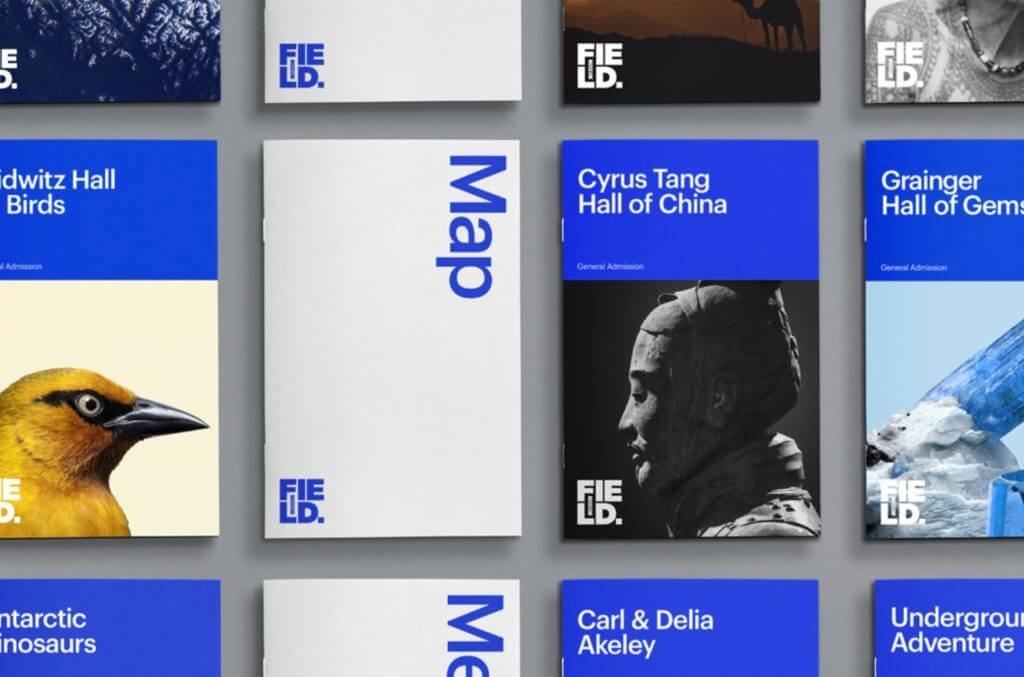 "Vertical booklets are neatly laid out in a perfect grid. They are labeled with the names of exhibit halls and exhibitions as well as ""Map"" in large blue and white text."