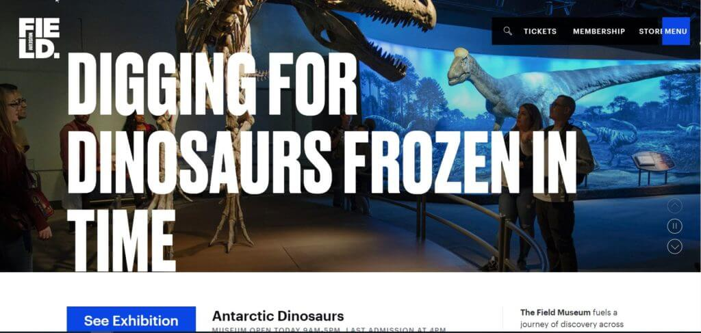 """A snippet of the Field Museum's website featuring large text reading, """"Digging for Dinosaurs Frozen in Time,"""" over a full-screen background image of visitors looking at a T-rex skeleton. A small menu appears in the upper right-hand side."""