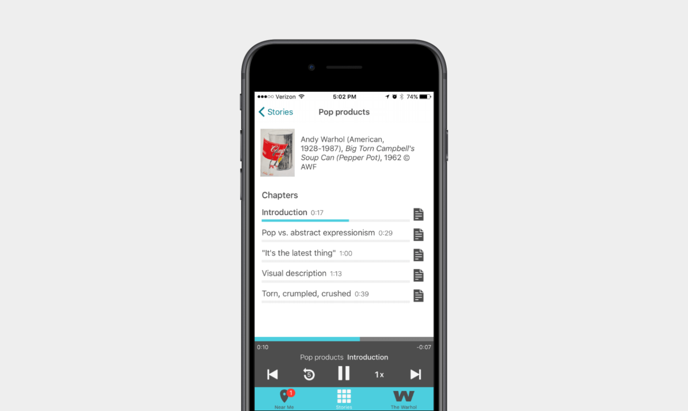"""A mobile screenshot of a page labeled """"Pop Products"""" with a list of 5 chapters, their run times and a document icon next to each."""