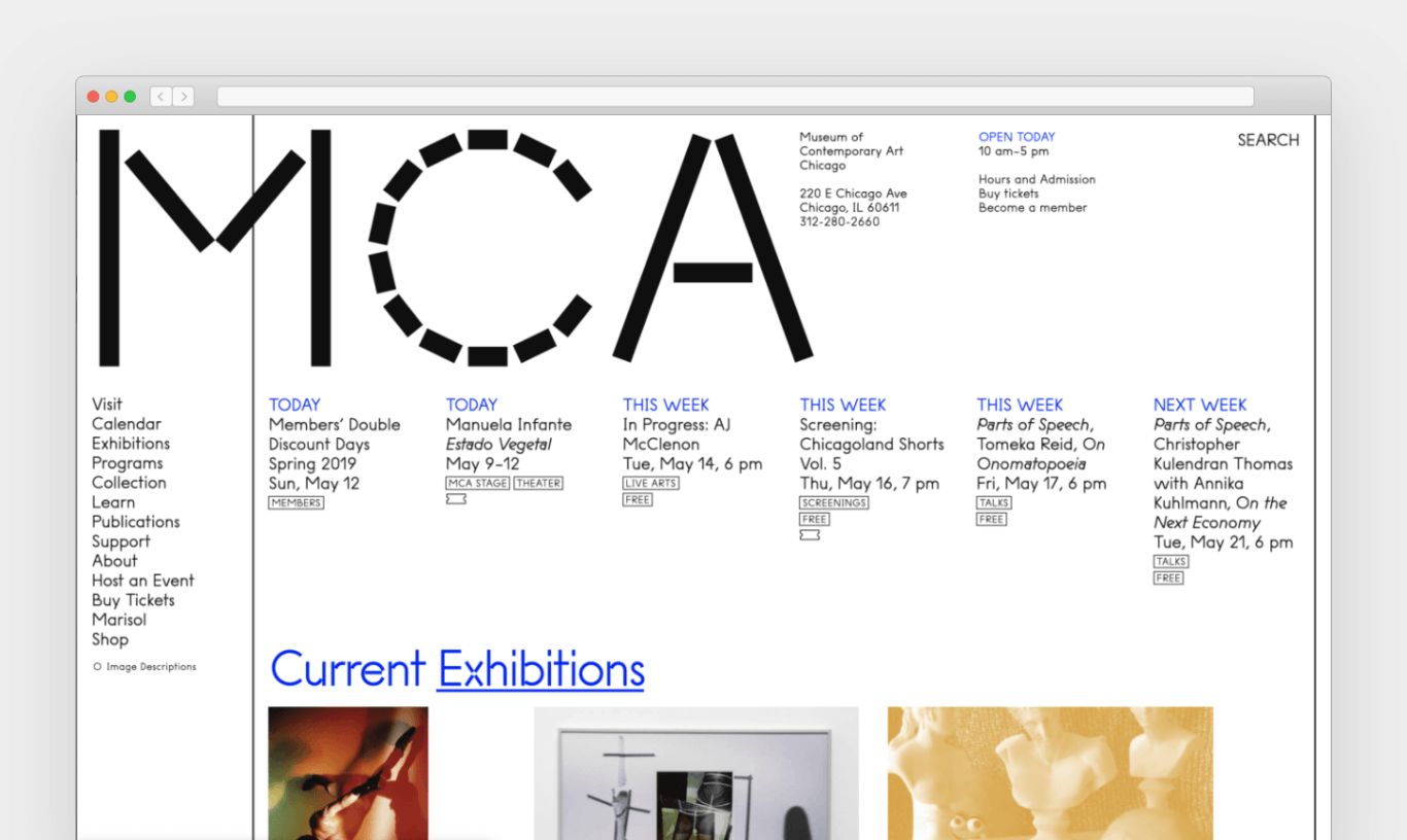 """The letters """"MCA"""" fill the upper left-hand corner of a screenshot of the MCAChicago.org homepage."""