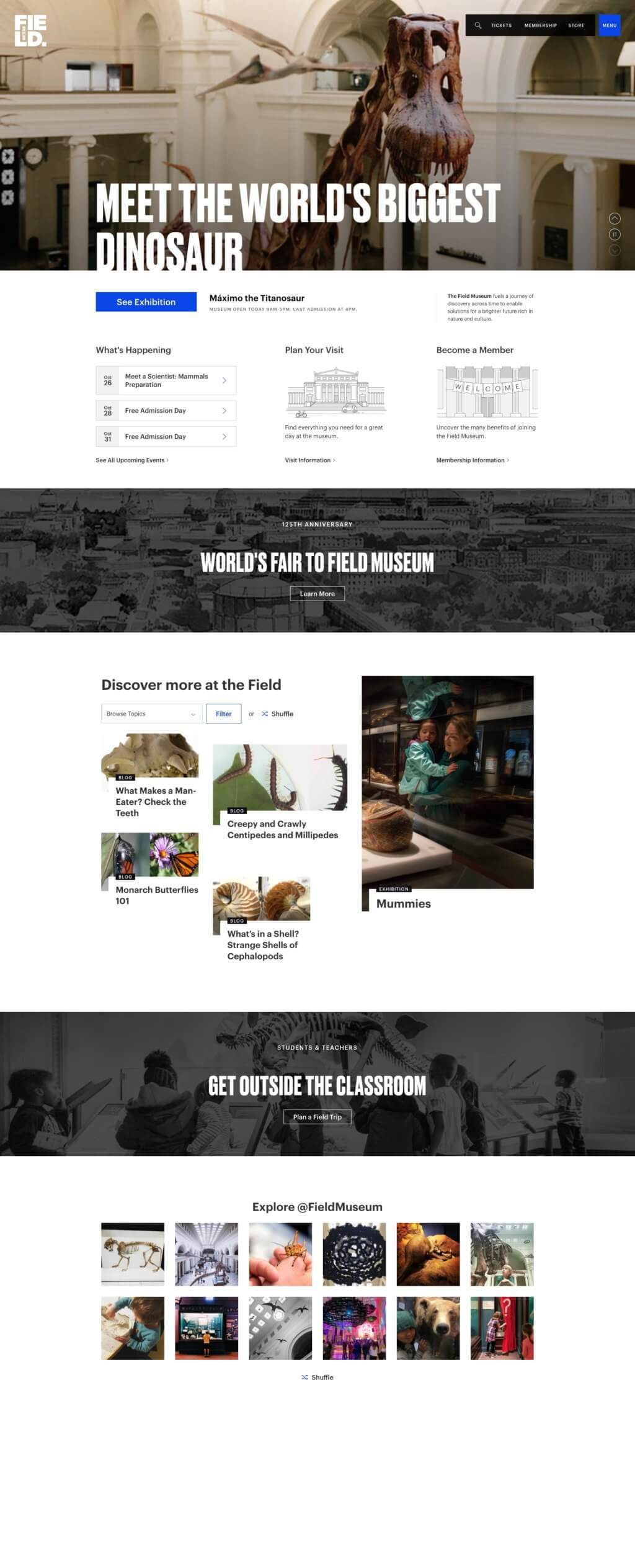 """A screenshot of the Field Museum homepage features a header that reads, """"Meet the world's largest dinosaurs,"""" followed by 5 distinct sections."""