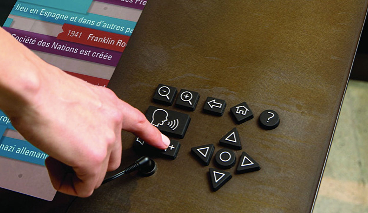 A finger presses the increase volume button on a rubberized keypad with buttons for speak, zoom, back, home, help, and navigation.